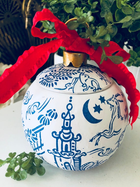 Blue White Chinoiserie Jumbo Big Ornament Trinket Box Christmas Decor Pagoda Ceramic Decoupage By Cake Stands Boutique Catch My Party