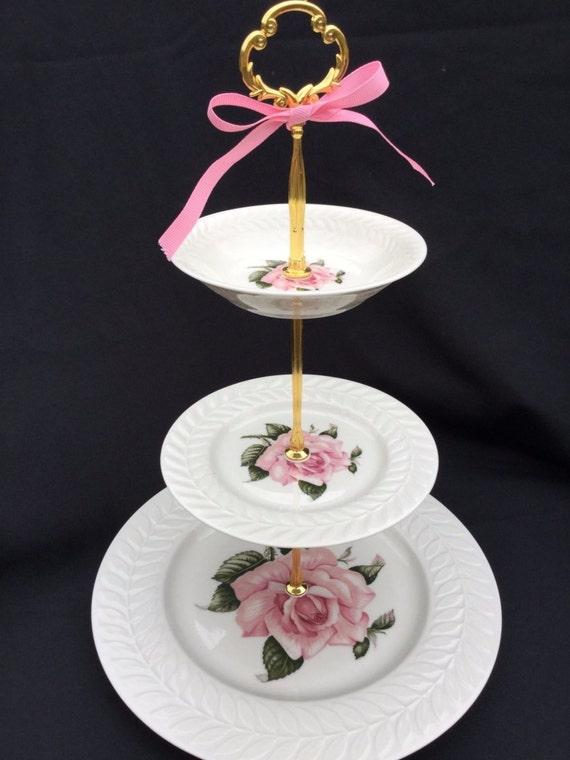 White Pink Rose Wedding Bridal 3 Tier Cake Stand Haviland Etsy