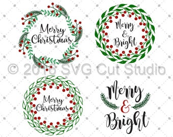 christmas wreath svg etsy