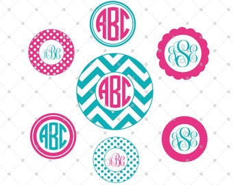Circle Monogram Frames SVG Cut Files for Cricut, Silhouette and other Vinyl Cutters, svg cut files