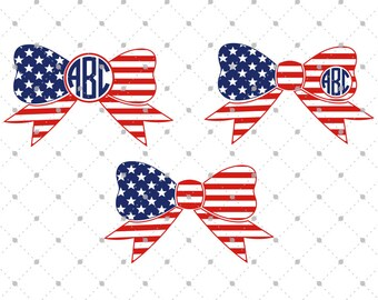 American Flag Bows svg cut files, 4th of July svg, Independence day svg, cut files for Cricut, Cut files for Silhouette, svg files