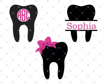 Dentist Tooth SVG Cut Files, Tooth Monogram Frames, cut files for Silhouette, cut files for Cricut, svg files, svg files