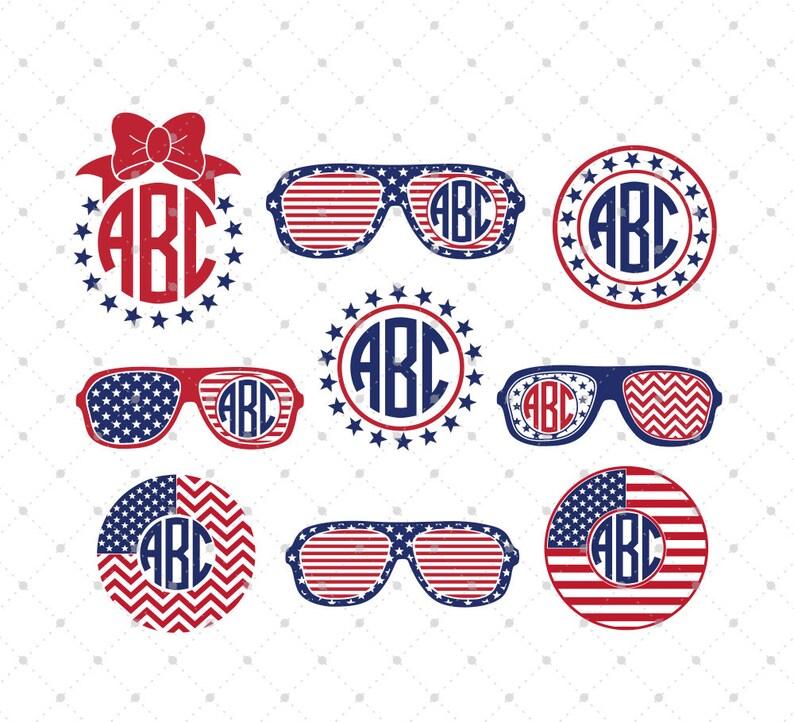 86299eefb2a 4th of July America Monogram Glasses svg American flag svg