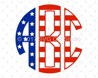 Font SVG, 4th of July Font SVG, Circle Monogram Letters svg, American Flag Digital Font cut files for Cricut and Silhouette, svg files