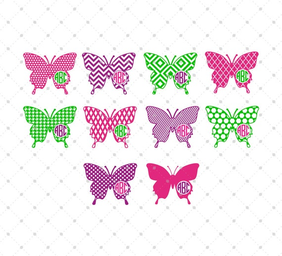Butterfly Monogram Frames svg cut files for Cricut Silhouette | Etsy