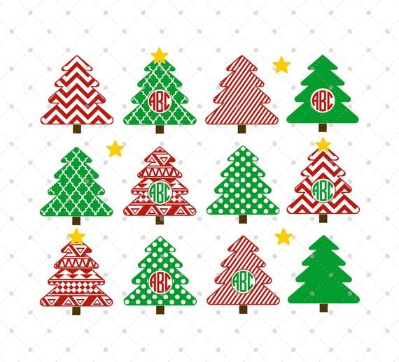 Christmas Tree SVG Cut Files Christmas Monogram Frame SVG Cut   Etsy