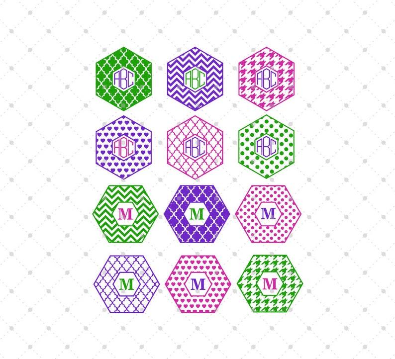 Hexagon Monogram Frames Svg Cut Files For Cricut Silhouette Etsy