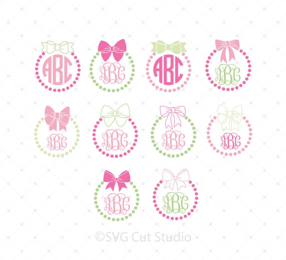Bow Monogram Frame Svg Cut Files Bow Svg Pearls Svg Files Etsy
