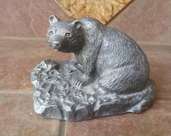 """Beautiful Vintage Pewter Bear by H Wilson, J Hudson Co, Made in the USA, Measures 4.5 Tall by 6"""" Long & 5"""" Wide Incredible Detail, Nice Find"""