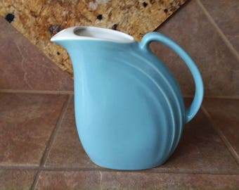 "Beautiful Hall Refrigerator Pitcher, Nora Pattern, Periwinkle Blue Excellent Condition Nice Art Deco Lines, Measures 8.5"" T x 7.5"" x W 3"" D"
