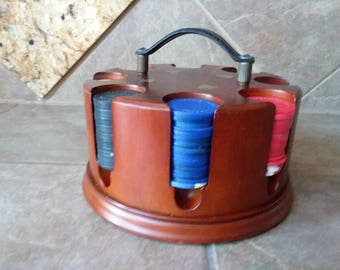 Vintage Bombay Company Revolving Poker Chip Caddy with Chips, Excellent Condition, Great Find, Beautiful Wood Grain