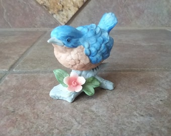 "Vintage Homco #8885 Bisque Porcelain, Hand Painted Baby Blue Bird, Excellent Condition, Measure Approximately 4"" x 4"", Very Cute"