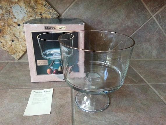 Vintage Glass Trifle Bowl by Maison Faire Thick Gold Trim | Etsy