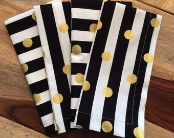 Black and white stripe, gold dot Napkin-Black, white, gold-Set of 2 or 4