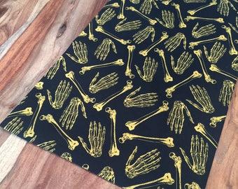 Halloween Gold Skeleton bones Table Runner- Scattered bones