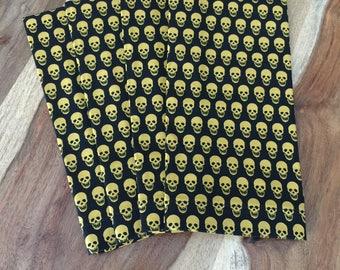 Halloween Mini Gold Skull Napkins on Black-Set of 2 or 4