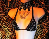 Stripper Outfit four-strap-thong with rhinestones, chain, triangle top. black