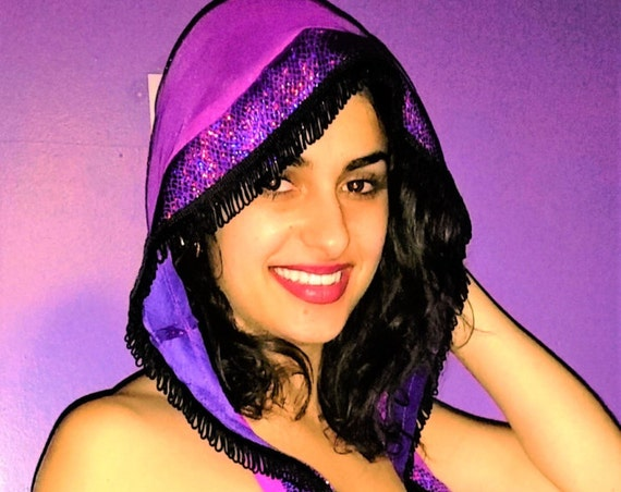 Hoodie Outfit, Triangle Top, Hoodie, Double Strap Thong, Black Fringe, Purple Metallic Stripper Clothes, Exoticwear, Hand Made Hoody