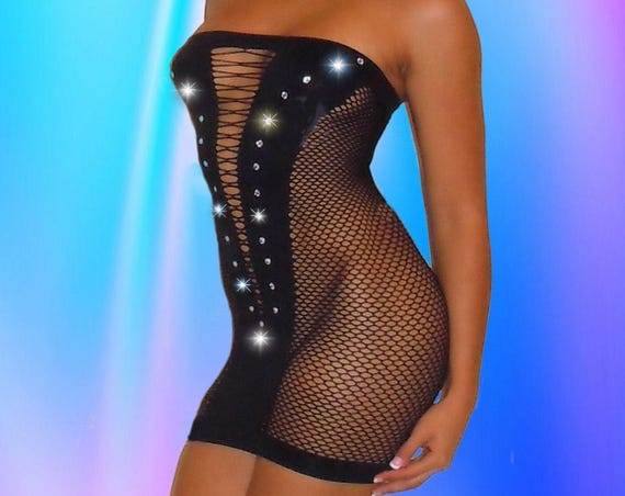 Black net Stripper Dress.  Club Dress, Mini, Tight Fitting, Rhinestones, Exoticwear, Made in USA, See Thru, Fishnet, Bondage, Custom Made