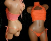 "Flamingo ""Carnival"" Fiesta Outfit Stripper, Mock turtleneck Crop Top with Thong Orange Ruffle Cha Cha Custom Made"