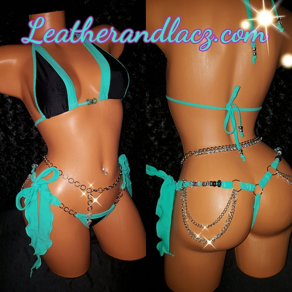 Two Piece Bikini w/Quality Crystal Stones. Custom Made, Exotic Dancewear,  Tie-on-the-Side Thong w/chians. (belly chain  sold separately)