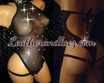 One Piece Classy High Neck One-Piece Net Mesh, Teddy w/Matching Thong, Custom Made Exotic Dance-wear, Stripper Outfit, Hand Made Neon colors