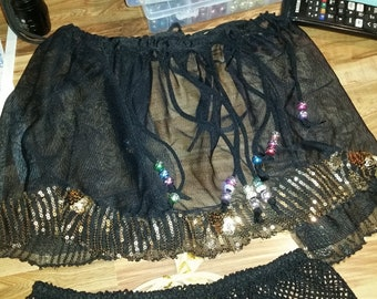 Arabian Face Vails Belly Dancer Mask Style Veil.   Black & Gold Beaded and Gold Coin Embellished Sexy Mask