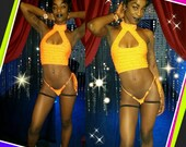 Stripper Outfit, Mock turtleneck Crop Top and thong,Rhinestones,sexy,custom made, Exotic Dance-wear, Stripper Outfit, Bedazzled, Money Bag