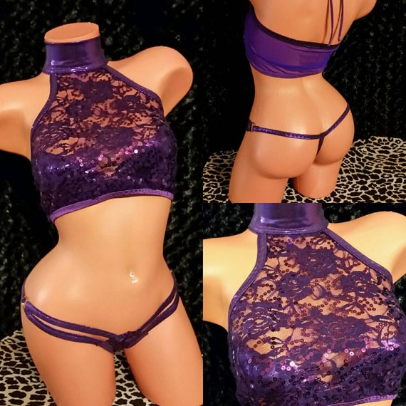 Purple crop top, Spider thong, Hand Made Exoticwear, Stripper Clothes, Sequins Stretch Lace, Gold, Black, White