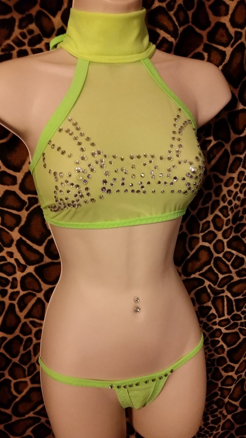 High End Rhinestone and Power-net Stripper Outfit See-through image 1