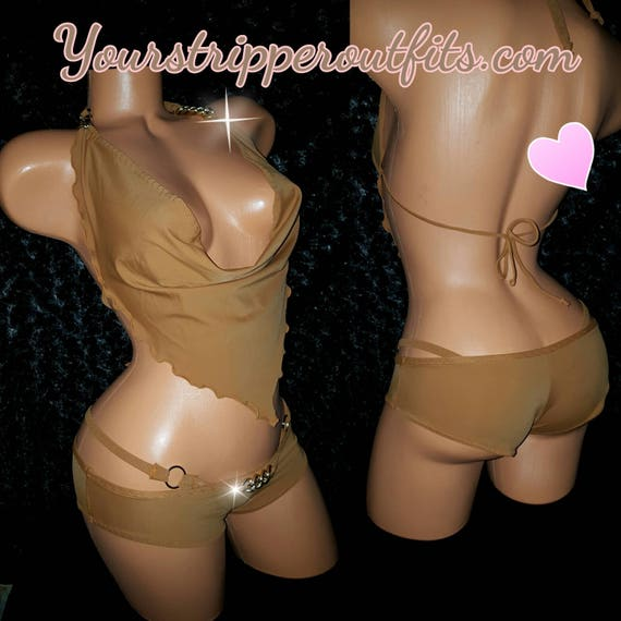 Draping Cow Neck Halter Top, and Booty Shorts (boy shorts) Custom Made to Order Quality Spandex Nude, White, and more colors available