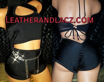 Low V-Back High Waist Booty Shorts Only No Top No Belly Chain Any Color Exoticwear, Hand Made