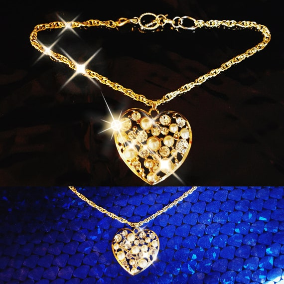 Gold Rhinestone and Pearl Costume Heart Pendant Choker on rope chain Diamond Bling Rhinestone Charm