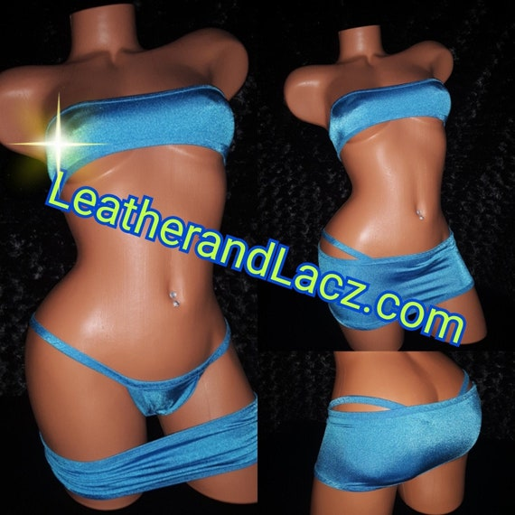 Tube Top set, Skirt, Thong, Stripper Outfit, Stretch, any color available, Exotic Wear, Four Way Stretch Sexy Skimpy