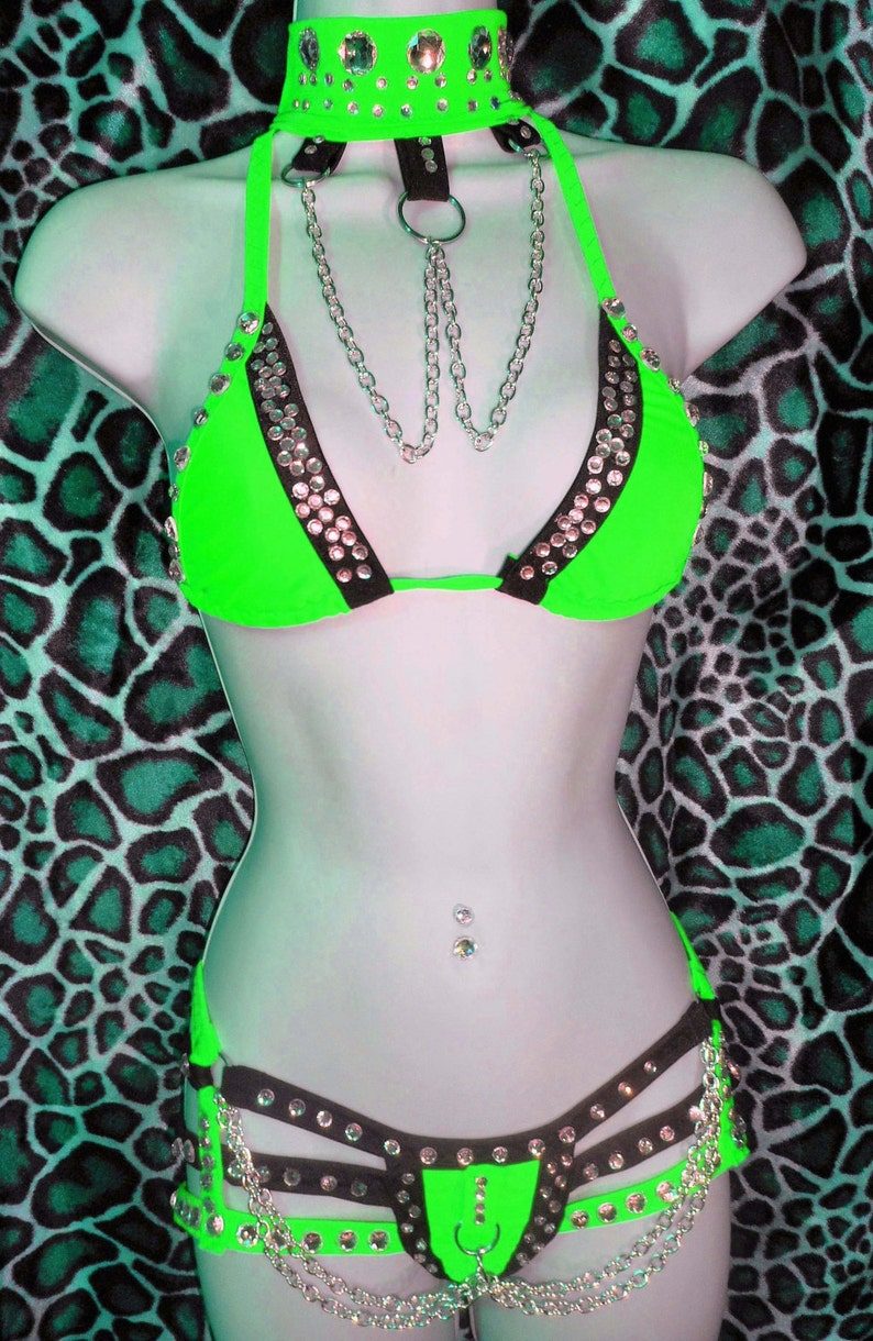 Three Piece Stripper Outfit Choker Quad-Thong Triangle Top. image 0