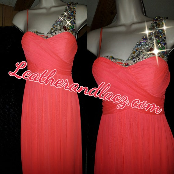 Rhinestone Gown Translucent Stones are sewn.  Neon Coral Prom Gown Brand New.