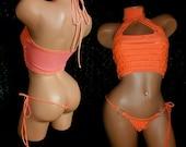 "Flamingo ""Carnival"" Fiesta Outfit Stripper, Mock turtleneck Crop Top with Thong Orange Ruffle Cha Cha Custom Made"