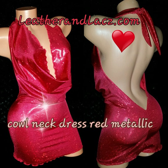 Cowl Neck Party Dress Sexy.  Club Dress, Mini, Tight Fitting Stripper Dress Exoticwear, Black, Red, or White, Custom Made
