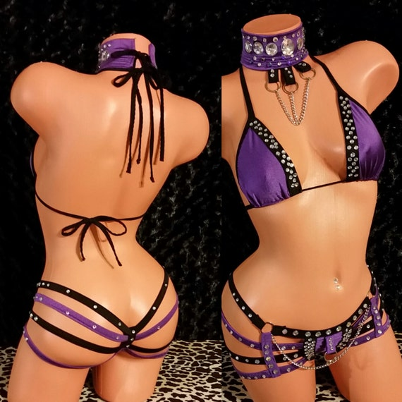Lilac, Magenta, Violet, Metallic.Quad Thong Set, Choker, Chains,and Rhinestones, Exotic-Wear, Stripper Clothes, Sexy Club-wear, Custom Made