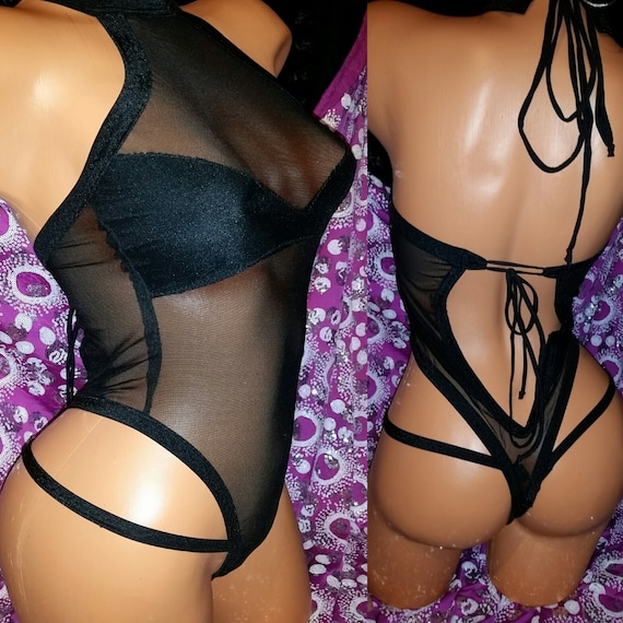 Net, Mesh, Onesie and Thong authentic Spandex and String Thong Hand Made, Stripper Clothes, Exotic Wear, String, Black, Adjust