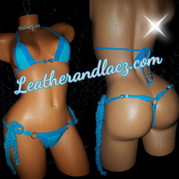 Turquoise Blue Two Piece  Ties on the Side Thong Set Triangle Top, Exoticwear, Stripper Outfit, Hand Made, Ceramic Beads, Bikini, Swimwear