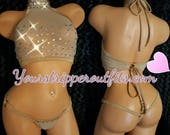 Nude Thong and Crop Top Set, See through. Mesh Net with Rhinestones Stripper Outfit, Exotic-wear, Custom Hand Made, Brand New, Lingerie