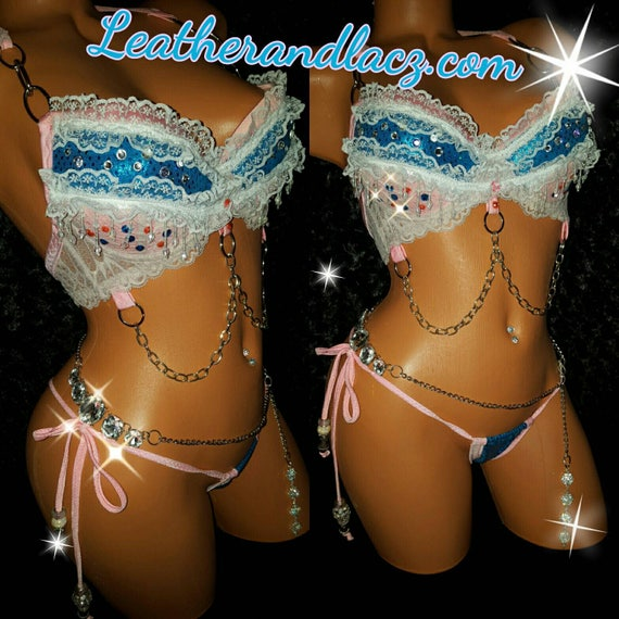 Push up padded Bra set with belly chain string thong adjustable ties small thong. Hand made, Exotic Dancewear, Stripper Outfit, Hand Made