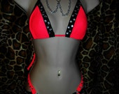 STRIPPER outfits,four strap thong,chains Rhinestones,custom,hand made USA,spandex Exotic Wear, Embellished, Neon Colors