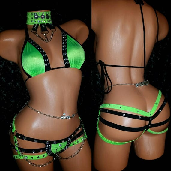 STRIPPER Outfit, Quad  Thong Set, Choker & Triangle Top w/chains,custom Exotic Dance-wear, made USA,Authentic Spandex by The Costume Lady