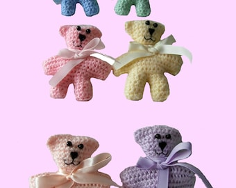 Rainbow Bear - Crochet Teddy Mini Plushie Soft Toy - Ribbon Bowtie Pastel Blue Green Pink Yellow Orange Peach Purple - Stocking Filler Gift