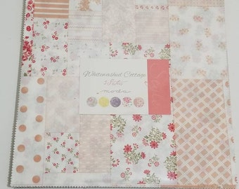 "3 Sisters WHITEWASHED COTTAGE precut 10"" layer cake quilting fabric"