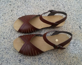 Holidays Sale 20%, Free Shipping, vegan Sandals, foodbet sandals, Summer Shoes, , Straps Sandals  vegan  Style MÁLAGA BROWN