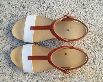 ree Shipping, vegan Sandals, foodbet sandals, Summer Shoes, , Straps Sandals  vegan  Model TIBET, color white and honey