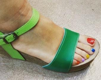 Holidays Sale 20%, Free Shipping, platform sandals,  vegan Sandals, Summer Shoes, , Straps Sandals  VEGAN style CITY combi GREEN